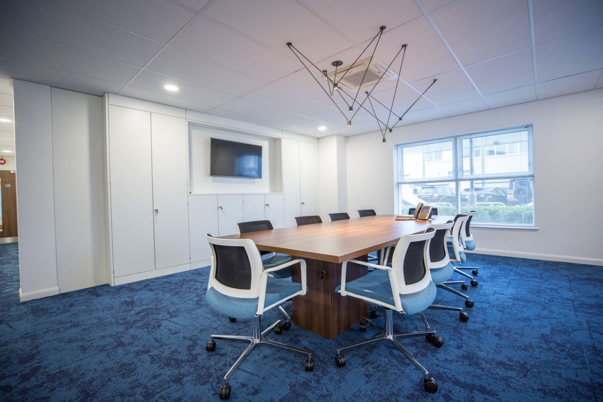 Blue and white meeting room