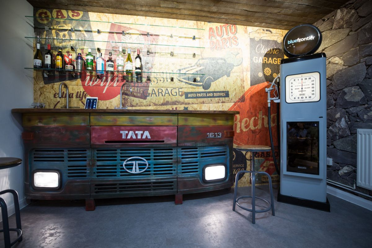 Funky truck themed cafe area